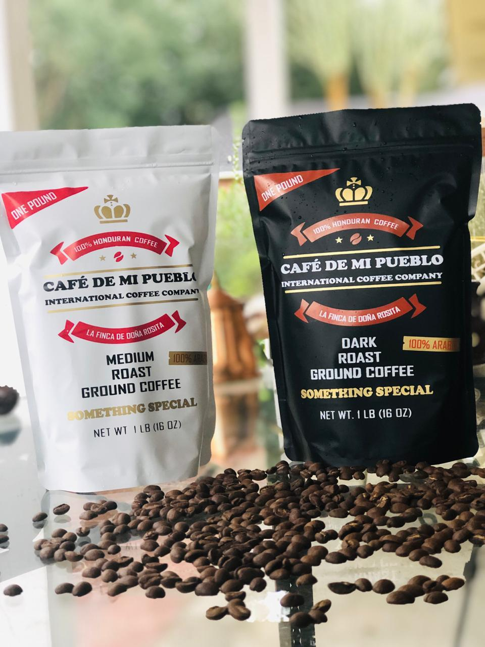 Black and white coffee bags