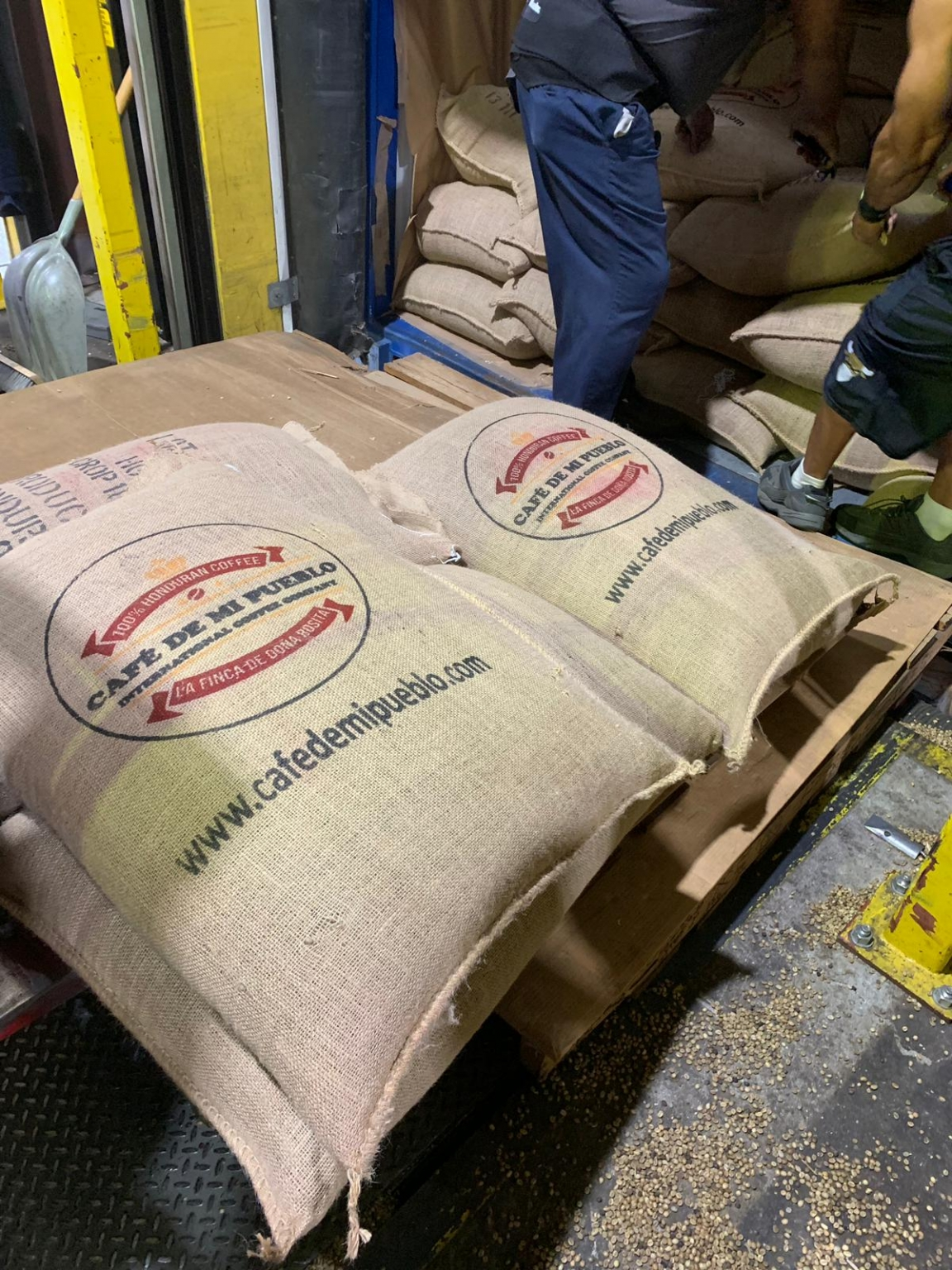 Loading coffee bags