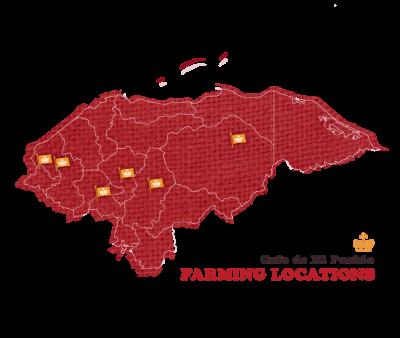 Map of farmers in Honduras