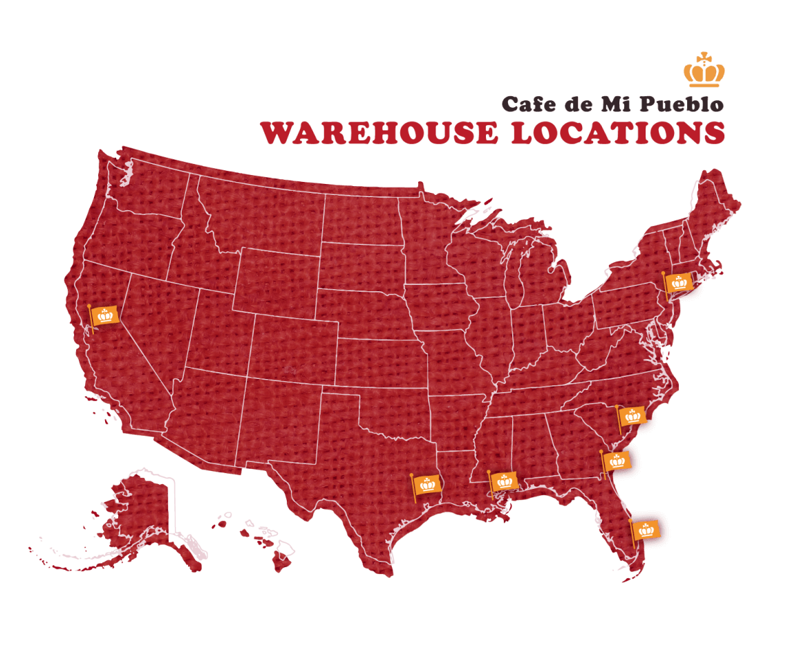 United States map of Cafe De Mi Pueblo warehouse locations